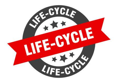 life-cycle sign. life-cycle round ribbon sticker. life-cycle tag