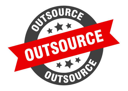 outsource sign. outsource round ribbon sticker. outsource tag