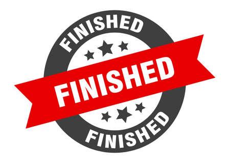 finished sign. finished round ribbon sticker. finished tag Illustration