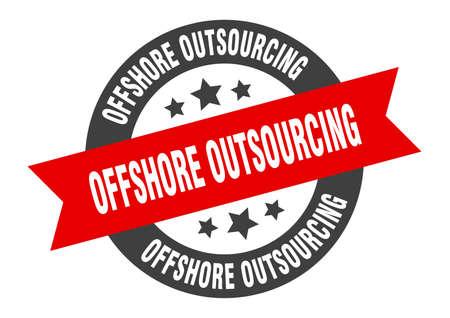offshore outsourcing sign. offshore outsourcing round ribbon sticker. offshore outsourcing tag Illustration