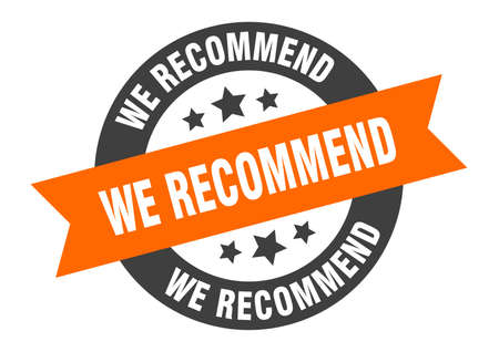 we recommend sign. we recommend round ribbon sticker. we recommend tag Stock Illustratie