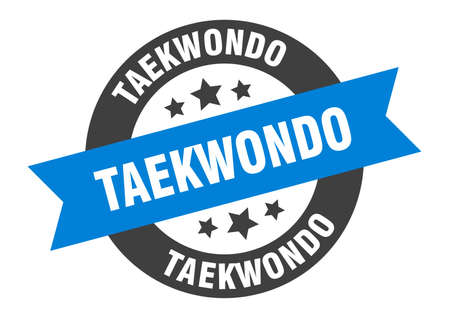 taekwondo sign. taekwondo round ribbon sticker. taekwondo tag
