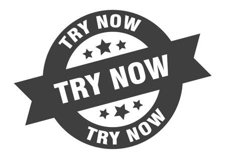 try now sign. try now round ribbon sticker. try now tag