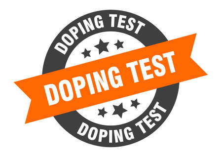 doping test sign. doping test round ribbon sticker. doping test tag