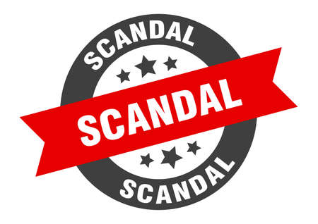scandal sign. scandal round ribbon sticker. scandal tag