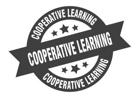 cooperative learning sign. cooperative learning round ribbon sticker. cooperative learning tag