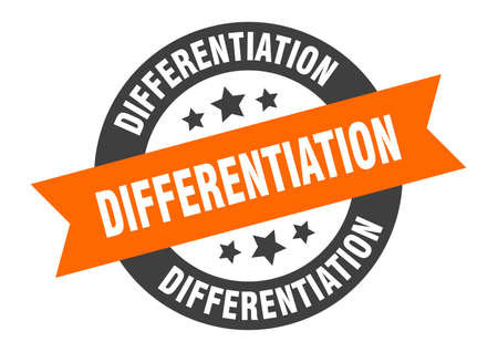 differentiation sign. differentiation round ribbon sticker. differentiation tag