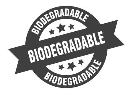 biodegradable sign. biodegradable round ribbon sticker. biodegradable tag