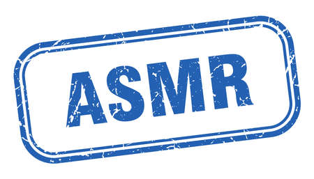 asmr stamp. asmr square grunge blue sign. asmr tag