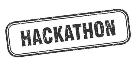 hackathon stamp. hackathon square grunge black sign. hackathon tag