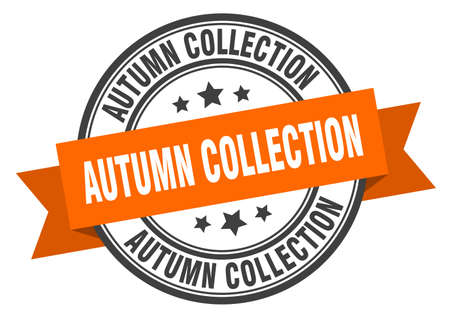 autumn collection label. autumn collectionround band sign. autumn collection stamp