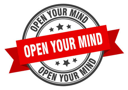 open your mind label. open your mind round band sign. open your mind stamp