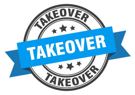 takeover label. takeover round band sign. takeover stamp 向量圖像