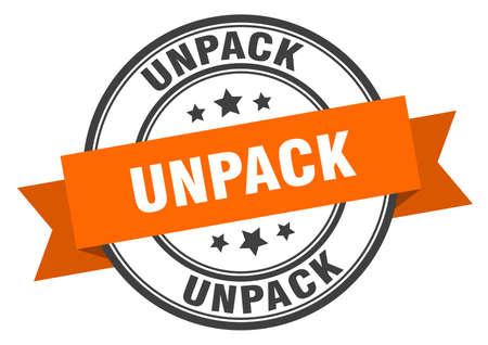 unpack label. unpack round band sign. unpack stamp