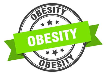 obesity label. obesity round band sign. obesity stamp Çizim