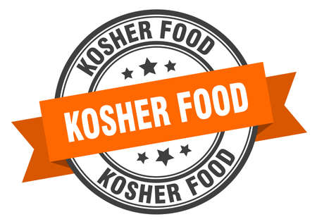 kosher food label. kosher foodround band sign. kosher food stamp