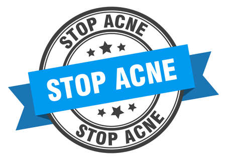 stop acne label. stop acne around band sign. stop acne stamp