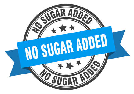 no sugar added label. no sugar addedround band sign. no sugar added stamp