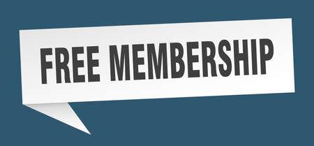 free membership speech bubble. free membership ribbon sign. free membership banner