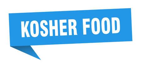 kosher food speech bubble. kosher food ribbon sign. kosher food banner Illustration
