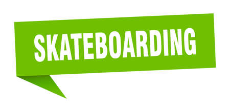 skateboarding speech bubble. skateboarding ribbon sign. skateboarding banner