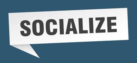 socialize speech bubble. socialize ribbon sign. socialize banner Archivio Fotografico - 139663785