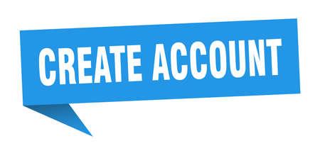 create account speech bubble. create account ribbon sign. create account banner
