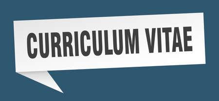 curriculum vitae speech bubble. curriculum vitae ribbon sign. curriculum vitae banner Vectores