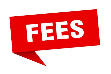 fees speech bubble. fees ribbon sign. fees banner