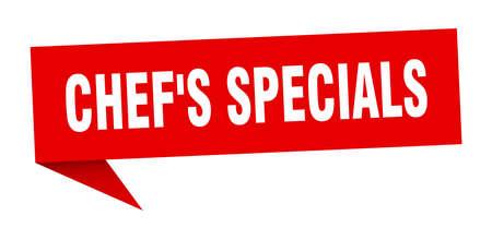 chef's specials speech bubble. chef's specials ribbon sign. chef's specials banner Illustration