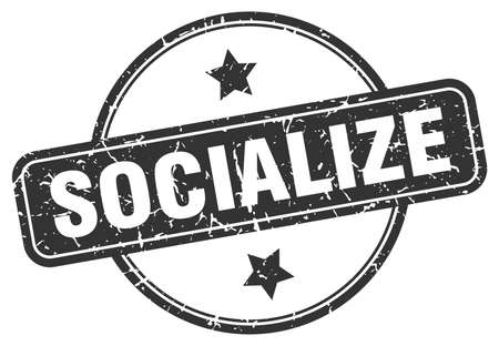 socialize stamp. socialize round vintage grunge sign. socialize Archivio Fotografico - 139759813