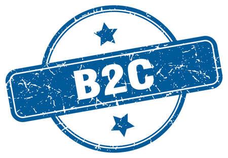 b2c stamp. b2c round vintage grunge sign. b2c