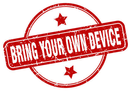 bring your own device stamp. bring your own device round vintage grunge sign. bring your own device