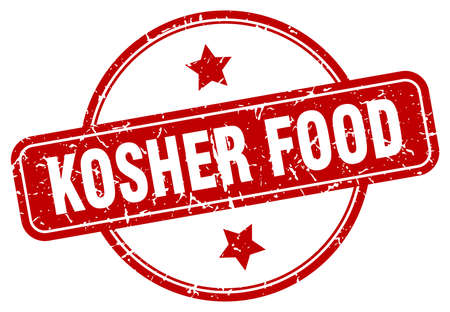 kosher food stamp. kosher food round vintage grunge sign. kosher food