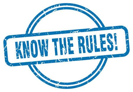 connaître le timbre des règles. connaître les règles autour du signe grunge vintage. connaître les règles Vecteurs