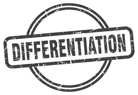 differentiation stamp. differentiation round vintage grunge sign. differentiation