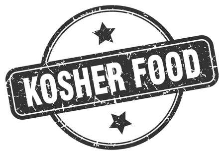 kosher food stamp. kosher food round vintage grunge sign. Illustration