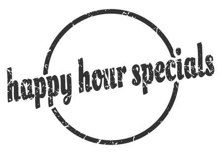 happy hour specials sign. happy hour specials round vintage grunge stamp. happy hour specials Illustration