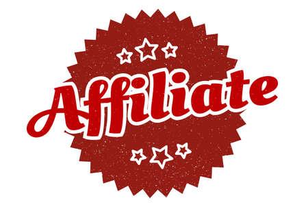 affiliate sign. affiliate round vintage retro label. affiliate