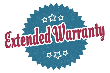 extended warranty sign. extended warranty round vintage retro label. extended warranty