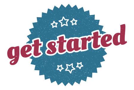 get started sign. get started round vintage retro label. get started Stock Illustratie