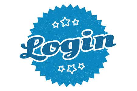 login sign. login round vintage retro label. login