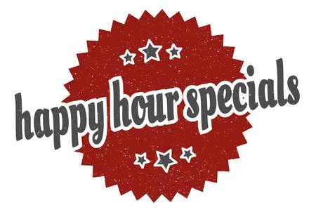 happy hour specials sign. happy hour specials round vintage retro label. happy hour specials