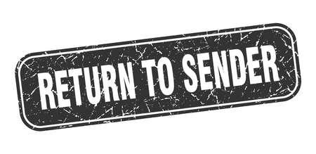 return to sender stamp. return to sender square grungy black sign.