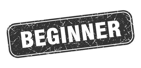 beginner stamp. beginner square grungy black sign.