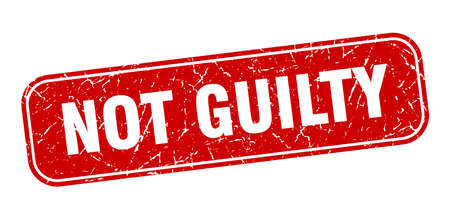not guilty stamp. not guilty square grungy red sign.