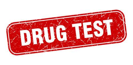 drug test stamp. drug test square grungy red sign.