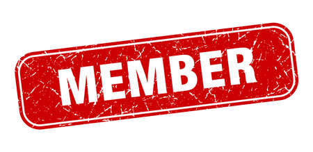 member stamp. member square grungy red sign.