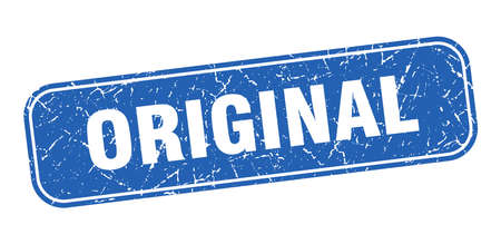 original stamp. original square grungy blue sign.