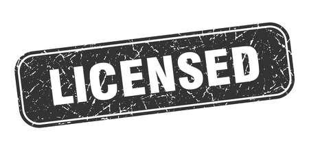 licensed stamp. licensed square grungy black sign. Illustration